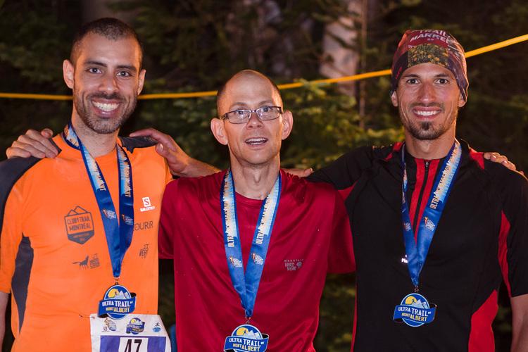 Richard, Sébastien et Mathieu à l'arrivée du 100km du Mont Al